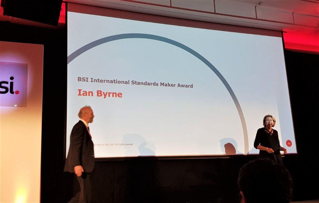 Ian Byrne receiving BSI International Standards Maker Award
